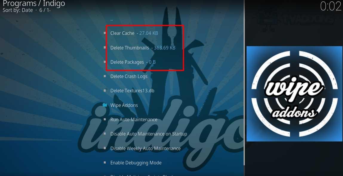 indigo maintenance tools clear cache