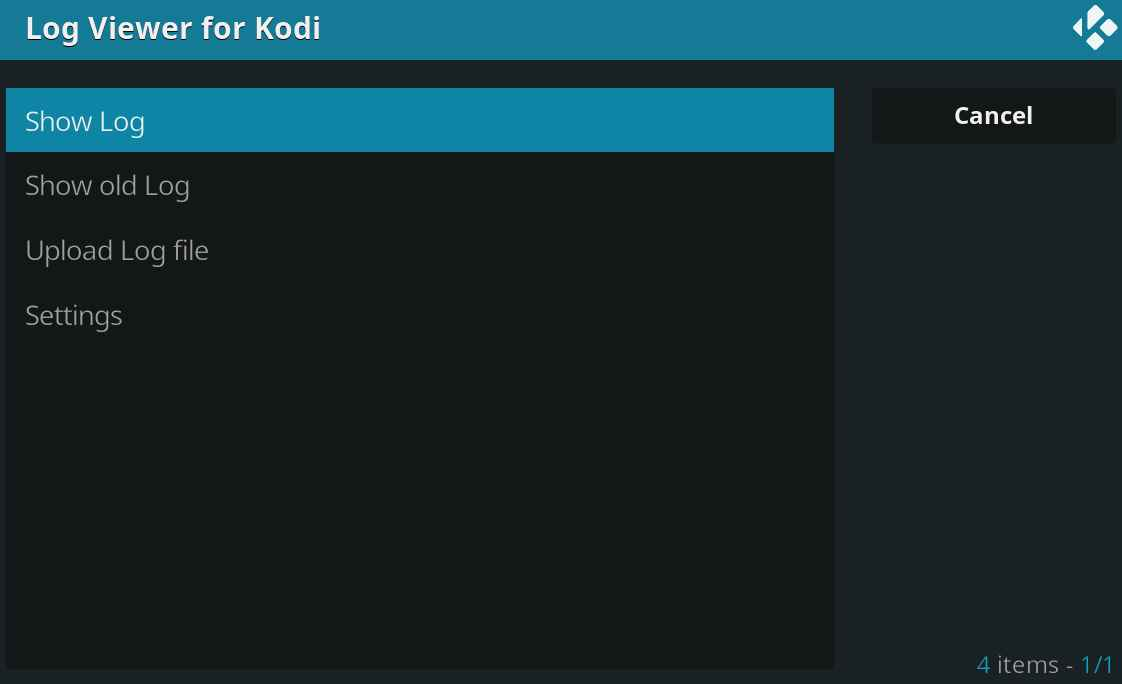 check the log for more information kodi error